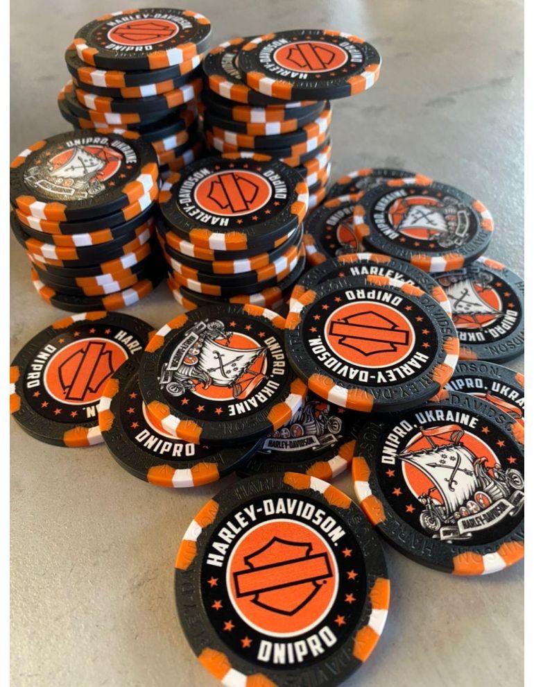 Сувенірні фішки для покеру чорно-оранжеві