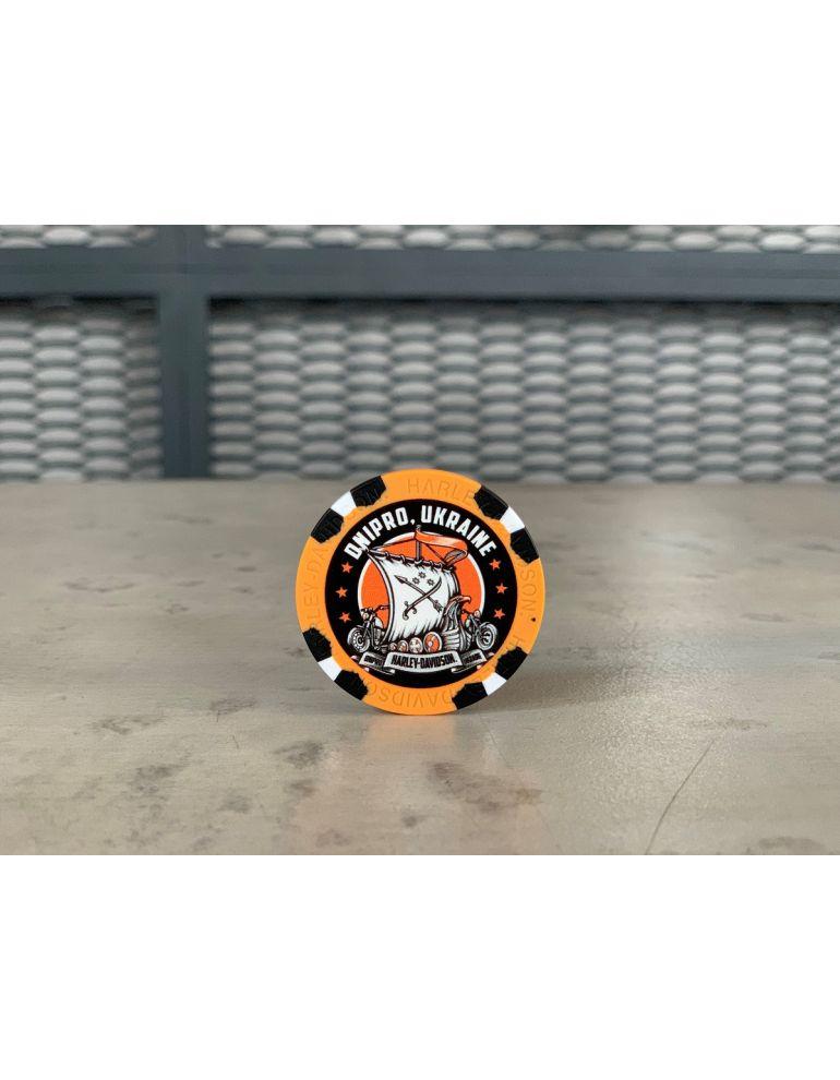 Сувенірні фішки для покеру оранжева Dnipro