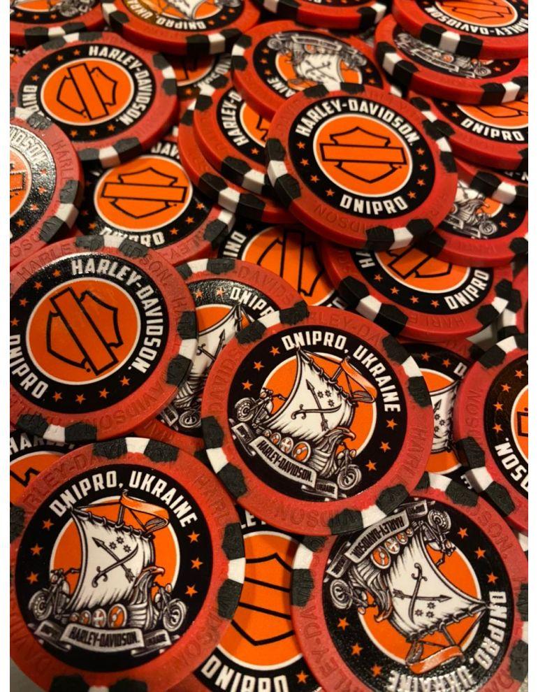 Сувенірні фішки для покеру червоно-чорні Dnipro