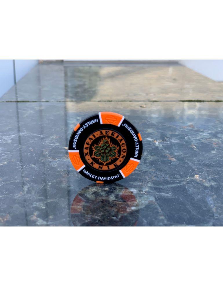 Сувенірні фішки для покеру чорно-оранжеві Kyiv
